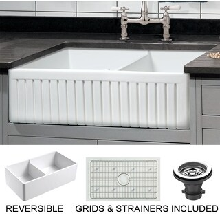 "Sutton Place Reversible Fluted Front Farmhouse Fireclay 33"" Double Bowl Kitchen Sink with Grid"