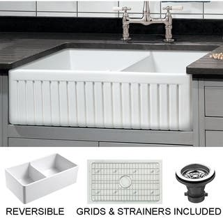 Sutton Place 33 in. Double Bowl Reversible Fireclay Farmhouse Kitchen Sink with Grid|https://ak1.ostkcdn.com/images/products/16431780/P22777530.jpg?impolicy=medium