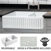 Sutton Place 33 in. Double Bowl Reversible Fireclay Farmhouse Kitchen Sink with Grid
