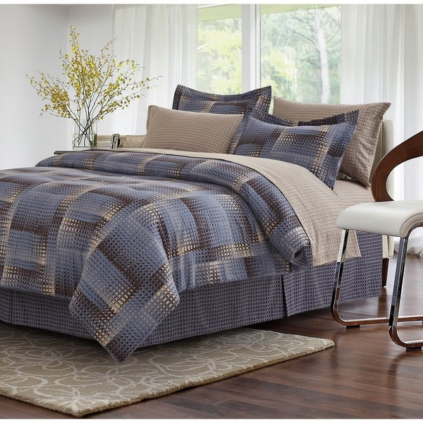 Shadow Box Brown 8-piece Bed-In-Bag Set