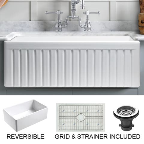 """Sutton Place Fireclay 30"""" L x 18"""" W Reversible Farmhouse Kitchen Sink with Grid & Strainer In White"""