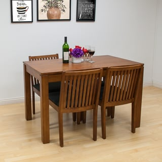 Mod Made Block Walnut Finish Solid Wood Dining Table