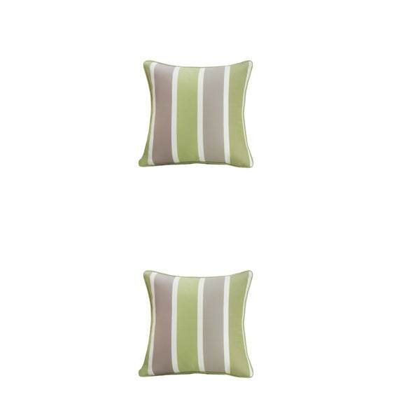 Outdoor Polyester Stripe Cushion Cover Square Throw Pillowcase Set (Set of 2)