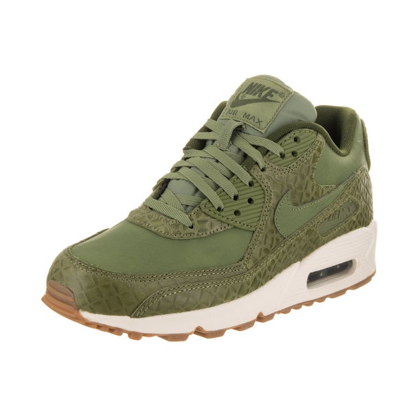 ad50d082f9 Shop Nike Women's Air Max 90 Prem Green Leather Running Shoes - Free ...