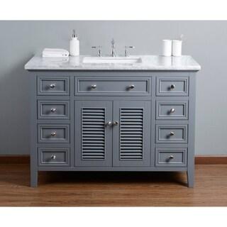 Stufurhome Genevieve 48 In.  Gray Single Sink Bathroom Vanity