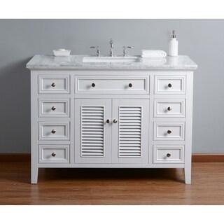 Stufurhome Genevieve 48 In. White Single Sink Bathroom Vanity