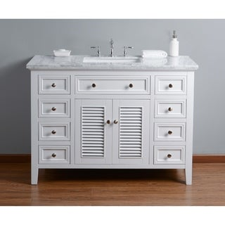 Stufurhome Genevieve 48 In. White Single Sink Bathroom Vanity