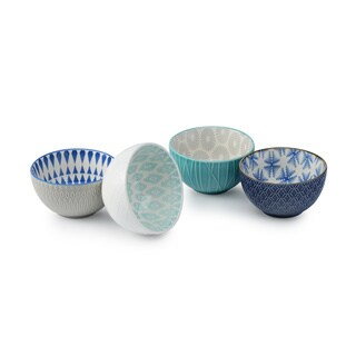 Signature Housewares Set of 4 Assorted Set of 4.5-Inch Bowls, Pad Print Bowls, Design 10