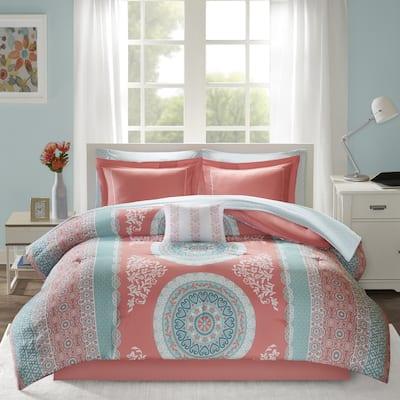 Eleni Coral Medallion Reversible Comforter and Sheet Set