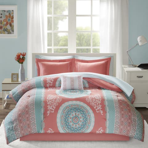 Intelligent Design Eleni Coral Medallion Reversible Comforter and Sheet Set