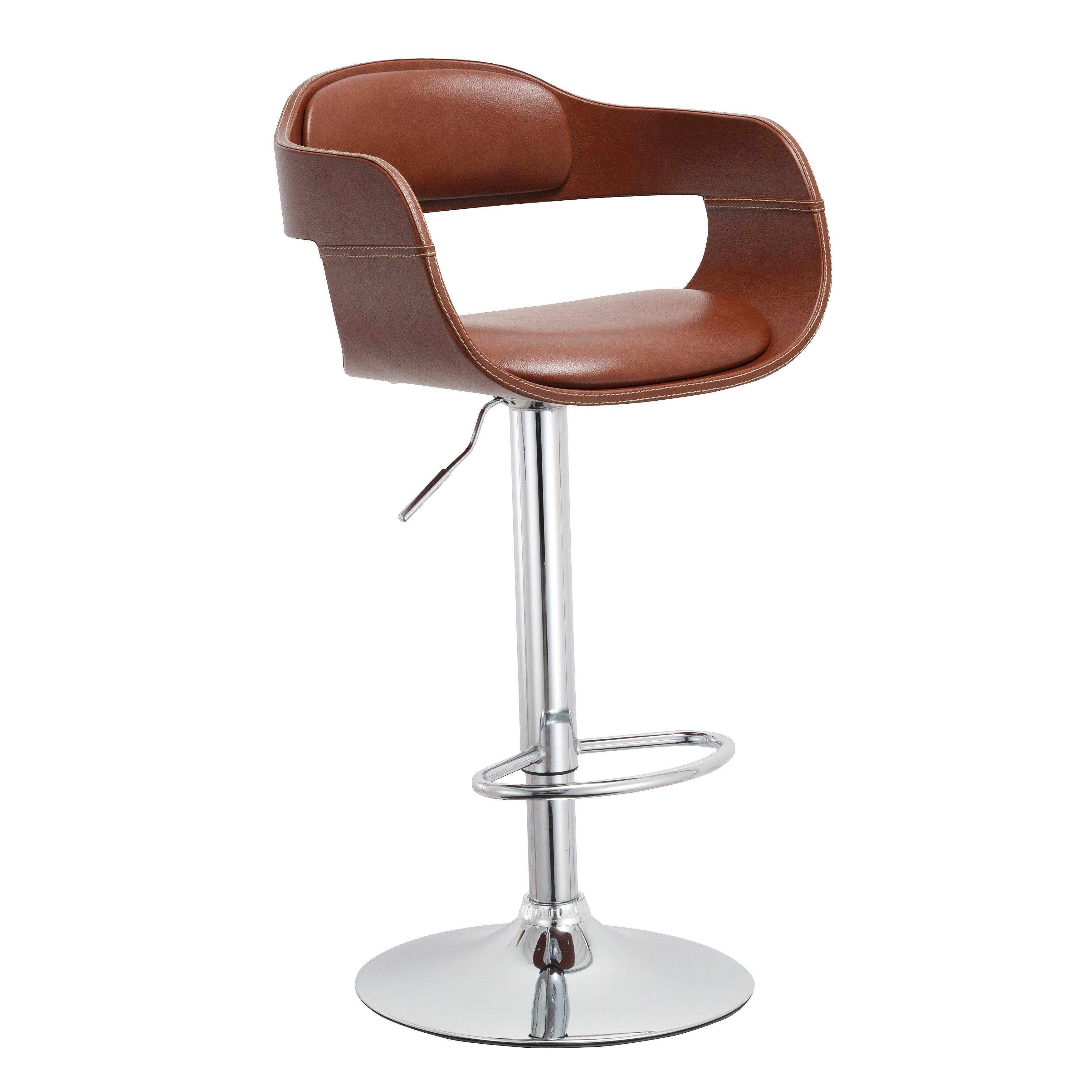 Mid Century Modern Brown Swivel Adjule Wood Metal Barstool