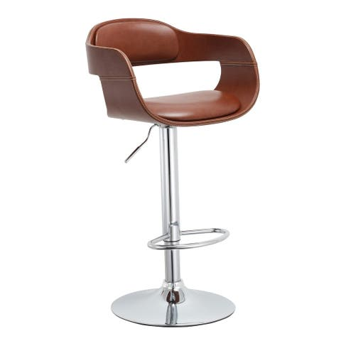 Mid Century Modern Brown Swivel Adjustable Wood/ Metal Barstool