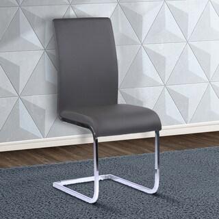 Armen Living Amanda Chrome Grey Faux Leather Contemporary Sidechairs (Set of 2)