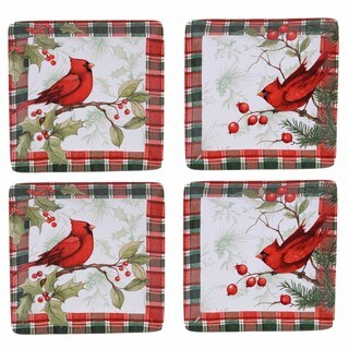 "Certified International Winter Field Notes"" Set of 4 Canape Plate 6, 2 Assorted Designs"