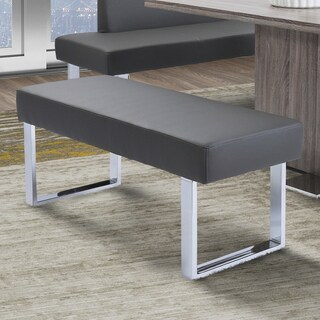 Armen Living Amanda Grey Faux Leather Contemporary Dining Bench
