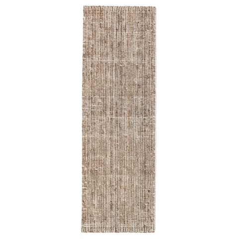 "Jani Zane Natural and Ivory Jute and Upcycled Materials Runner Rug (2'6 x 8') - 2'6"" x 8'"