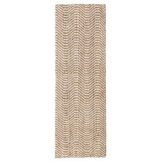 "Jani Waves Tan and Ivory Jute and Upcycled Fiber Runner Rug - 2'6"" x 8'"
