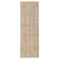 Jani Waves Tan and Ivory Jute and Upcycled Fiber Runner Rug - 2'6 x 8'