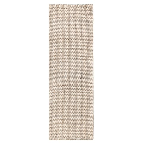 "Jani Nelle Tan and Ivory Jute and Upcycled Fiber Runner Rug - 2'6"" x 8'"