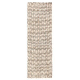 Jani Nelle Tan and Ivory Jute and Upcycled Fiber Runner Rug - 2'6 x 8'