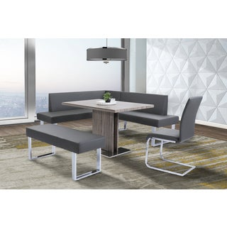Armen Living Amanda Grey Faux-leather Nook Corner Dining Bench