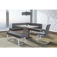Oliver & James Natalia Grey Faux Leather Corner Dining Bench