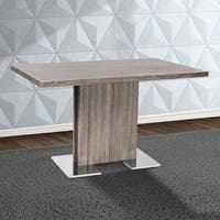 Armen Living Zenith Grey Walnut Dining Table with Brushed Stainless Steel Base