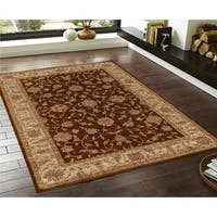 Traditional Floral Brown and Beige Faux Silk Rug - 5'x7'