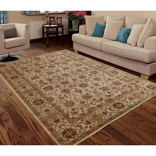Traditional Persian Cream/Red Faux Silk Floral Indoor/Outdoor Rug (5' x 7')
