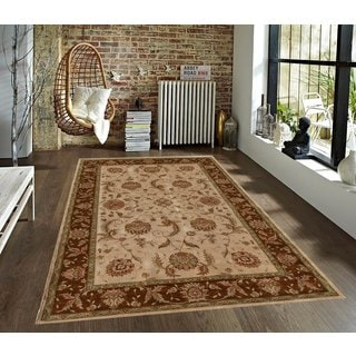 Traditional Persian Beige/Brown/Green Faux Silk Carpet (5' x 7')