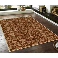 Traditional Red/Biege Faux Silk Floral Indoor/Outdoor Rug - 3' x 5'