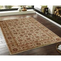 Traditional Persian Floral Beige/Cream/Brown/Red/Green Faux Silk Rug - 3' x 5'