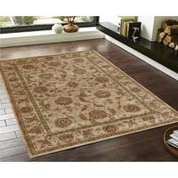 Traditional Persian Floral Beige Faux Silk Rug - 4' x 6'