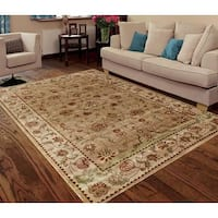 Traditional Persian Beige/Cream Faux Silk Indoor/ Outdoor Floral Rug - 3' x 5'