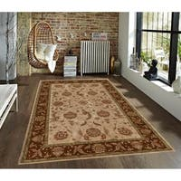 Traditional Persian Floral Beige and Brown Faux Silk Rug - 4' x 6'