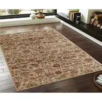 Traditional Floral Cream/Red Faux Silk Rug - 4' x 6'