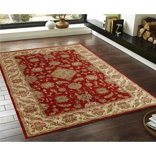 Red/Beige/Green Faux-silk Traditional Persian Floral Carpet (3' x 5')