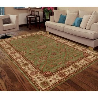 Green Faux Silk Traditional Persian-inspired Floral Rug (3' x 5')