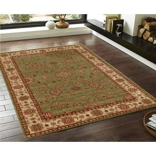 Traditional Persian Floral Green/Sage/Beige/Brown/Red/Orange Faux Silk Rug (5' x 7')