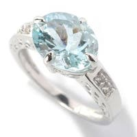 Sterling Silver 3.07ct Aquamarine and White Zircon Solitaire Vintage Ring