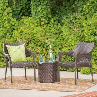 Oxford Outdoor 3-piece Round Wicker Bistro Chat Set by Christopher Knight Home