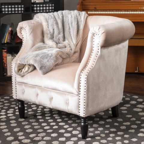 Akira Velvet Club Chair by Christopher Knight Home