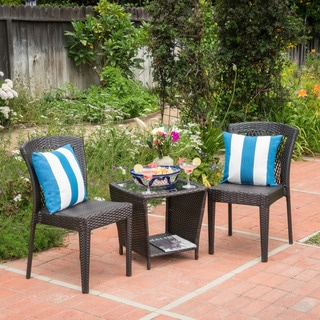 Astor Outdoor 3-piece Round Wicker Bistro Chat Set by Christopher Knight Home