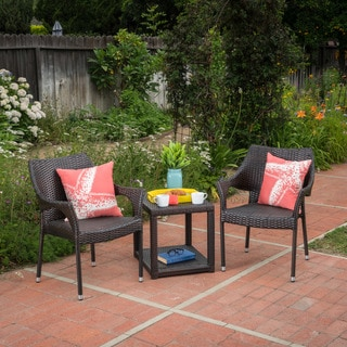 Astoria Outdoor 3-piece Round Wicker Bistro Chat Set by Christopher Knight Home