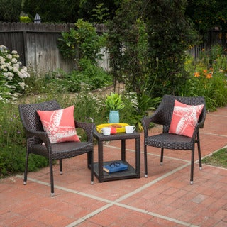 Astoria Outdoor 3-piece Square Wicker Bistro Chat Set by Christopher Knight Home