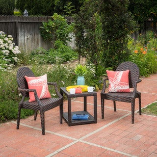 Mckinley Outdoor 3-piece Square Wicker Bistro Chat Set by Christopher Knight Home