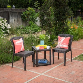 Avery Outdoor 3-piece Round Wicker Bistro Chat Set by Christopher Knight Home