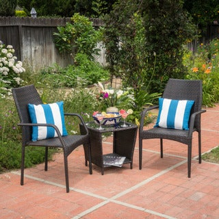 Cookton Outdoor 3-piece Round Wicker Bistro Chat Set by Christopher Knight Home