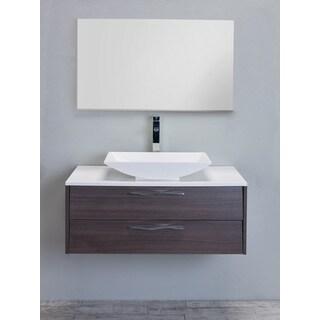 Eviva Zenvi Grey Oak 39-inch Modern Bathroom Vanity Set with Overmount White Acrylic Sink