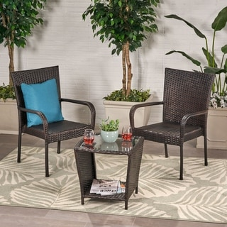 Sarah Outdoor 3-piece Round Wicker Bistro Chat Set by Christopher Knight Home